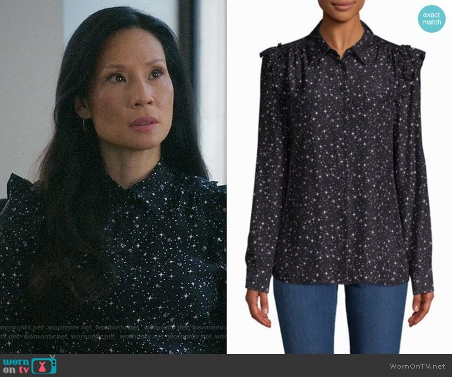 Frame Diamond-Print Silk Button-Down Shirt worn by Lucy Liu on Elementary