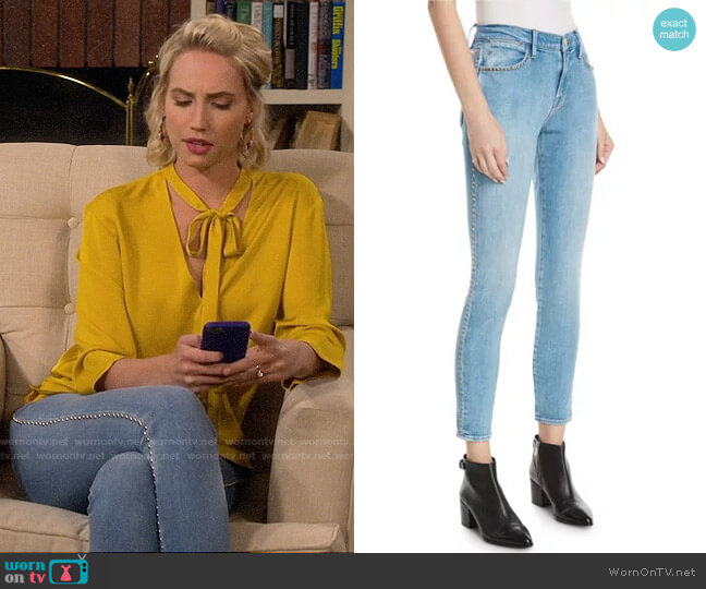 Frame Le Studded High-Waist Skinny Jeans worn by Mandy Baxter (Molly McCook) on Last Man Standing