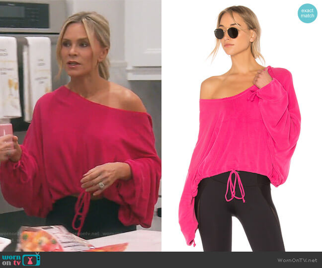 V-Neck Yella Knit Hoodie by Free People worn by Tamra Judge  on The Real Housewives of Orange County