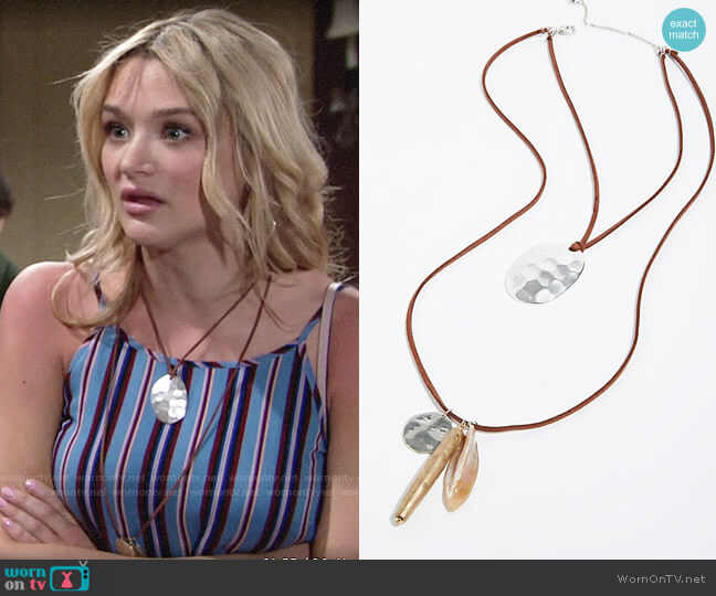 Free People Tivoli Pendant Necklace worn by Summer Newman (Hunter King) on The Young & the Restless