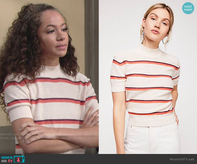 Free People Way Back Mock Neck Sweater worn by Lexie Stevenson on The Young & the Restless