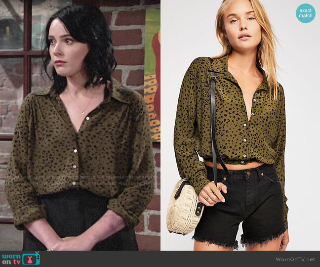 Free People Wishing Well Printed Top worn by Cait Fairbanks on The Young & the Restless