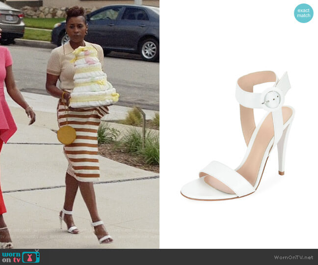 Gianvita Rossi Smooth Leather Ankle-Wrap Sandal worn by Issa Rae on Insecure