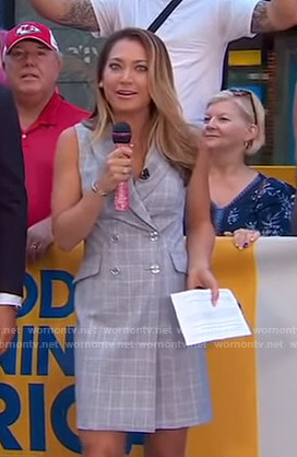 Ginger's grey checked blazer dress on Good Morning America