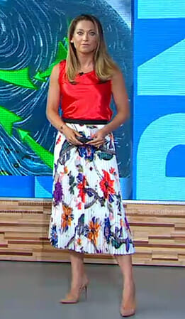 Ginger's red sleeveless top and floral pleated skirt on Good Morning America