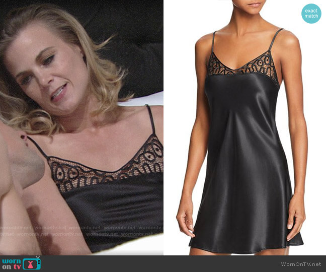 Ginia Twisted Lace Silk Chemise worn by Gina Tognoni on The Young & the Restless