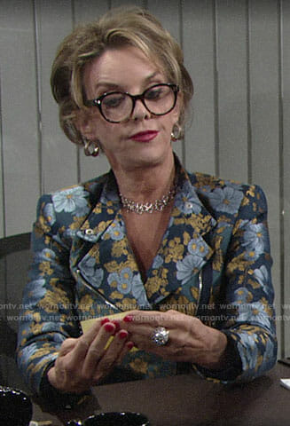Gloria's blue floral jacket on The Young and the Restless