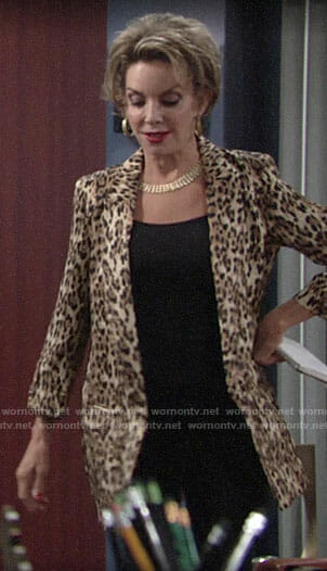 Gloria's leopard print blazer on The Young and the Restless
