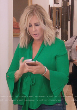 Vicki's green bell sleeve blouse on The Real Housewives of Orange County