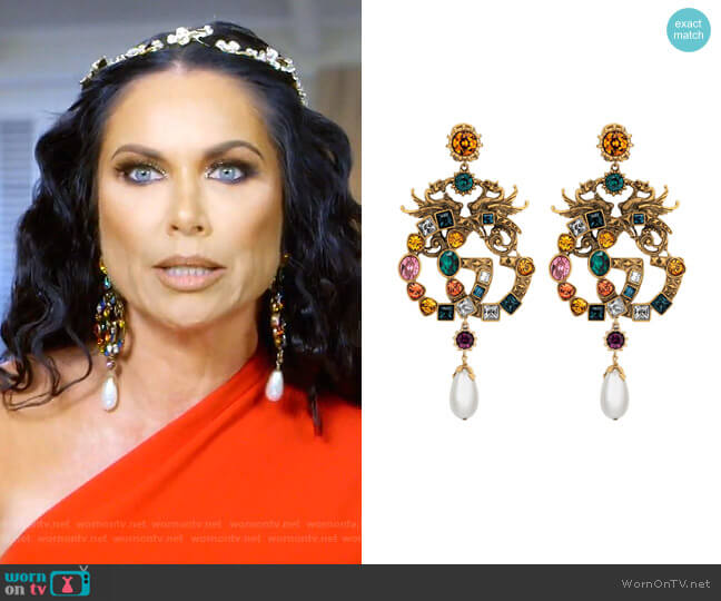 Crystal Double G earrings by Gucci worn by LeeAnne Locken  on The Real Housewives of Dallas