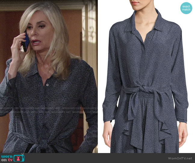 Halston Heritage Ruched-Sleeve Dot-Print Tie-Front Shirt worn by Eileen Davidson on The Young & the Restless