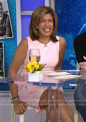 Hoda's pink ruffle front dress on Today