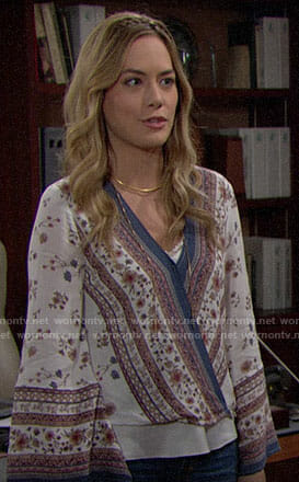 Hope's floral wrap blouse on The Bold and the Beautiful