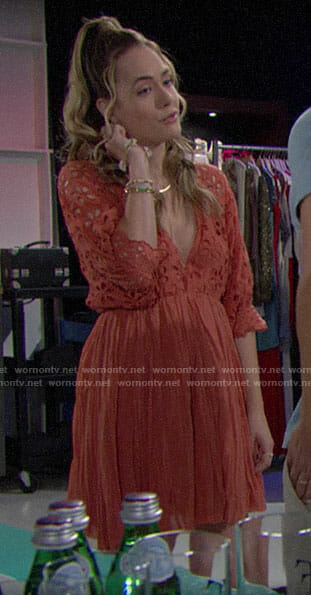Hope's orange eyelet dress on The Bold and the Beautiful
