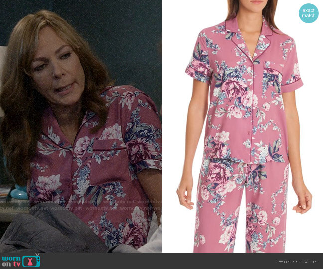 In Bloom by Jonquil Cropped Pajamas in Bed of Roses Adobe worn by Allison Janney on Mom