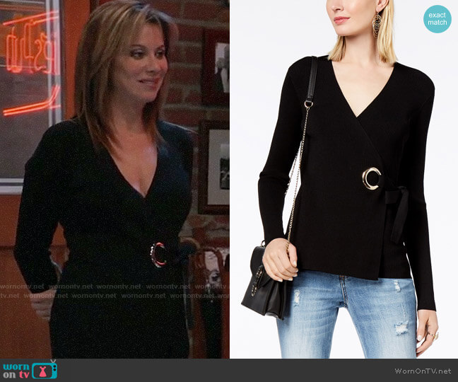 INC International Concepts Grommet Wrap Sweater worn by Alexis Davis (Nancy Lee Grahn) on General Hospital