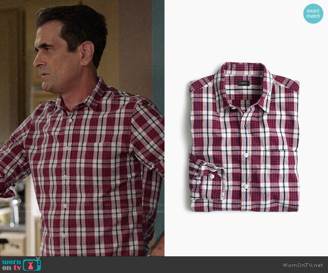J. Crew Slub Cotton Shirt in Red Check worn by Ty Burrell on Modern Family