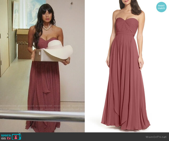 Jenny Yoo Mira Cinnamon Rose Gown worn by Tahani Al-Jamil (Jameela Jamil) on The Good Place