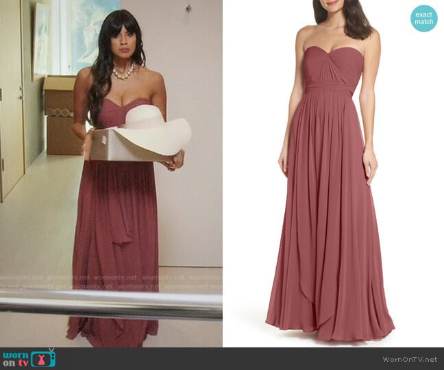 Jenny Yoo Mira Cinnamon Rose Gown worn by Jameela Jamil on The Good Place