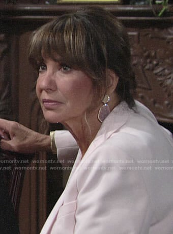 Jill's pink drop earrings on The Young and the Restless
