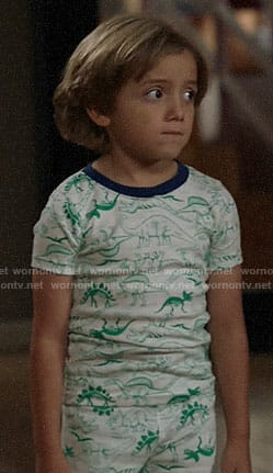Joe's green dinosaur print pajamas on Modern Family