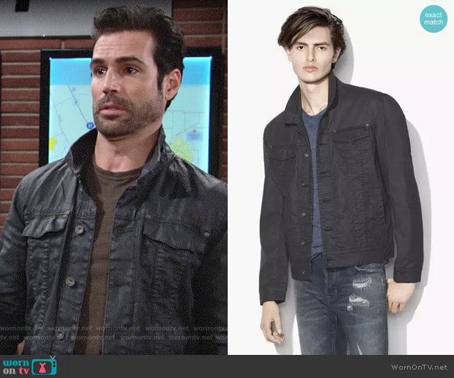 John Varvatos Coated Trucker Jacket worn by Jordi Vilasuso on The Young & the Restless