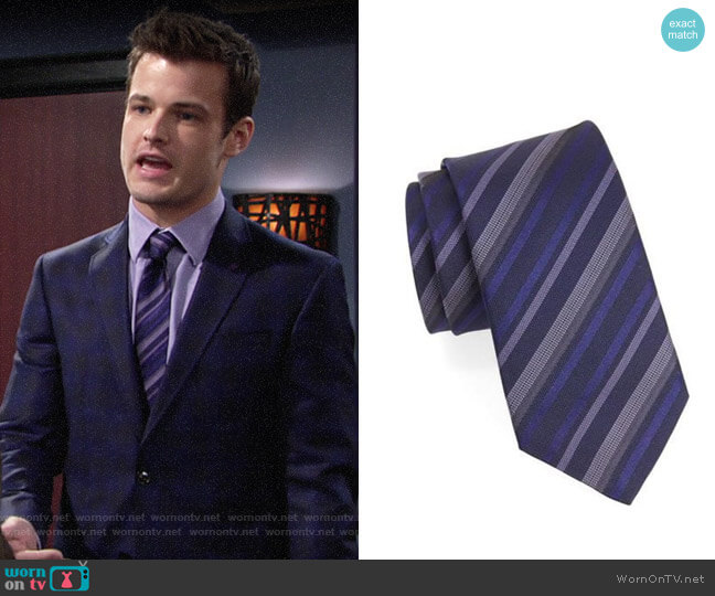 John Varvatos Star USA Striped Silk Tie worn by Kyle Abbott (Michael Mealor) on The Young & the Restless
