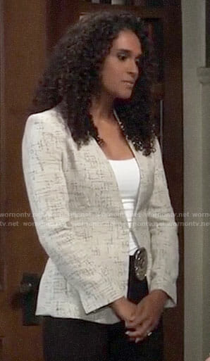 Jordan's crosshatch blazer on General Hospital