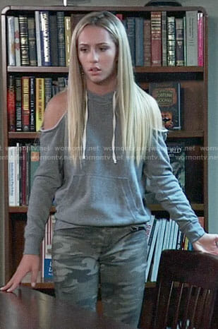 Josslyn's cold-shoulder hoodie and camouflage jeans on General Hospital