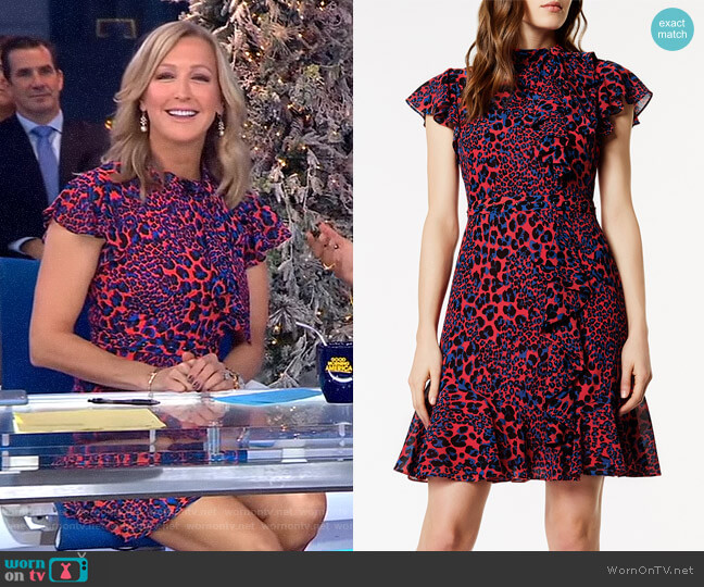 Ruffled Leopard Print Dress by Karen Millen worn by Lara Spencer  on Good Morning America