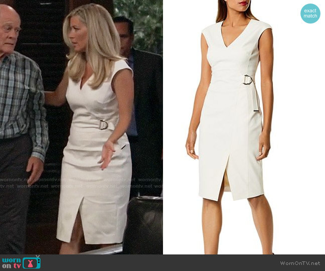 Karen Millen Cap Sleeve Faux Wrap Dress worn by Carly Corinthos (Laura Wright) on General Hospital