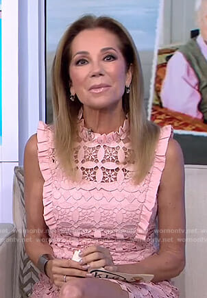 Kathie's pink ruffled lace dress on Today