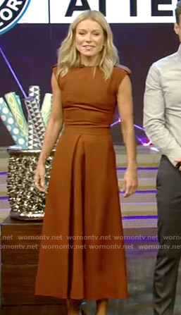Kelly's brown a-line midi dress on Live with Kelly and Ryan