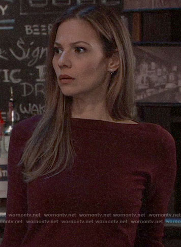 Kim's burgundy bell-sleeve sweater on General Hospital