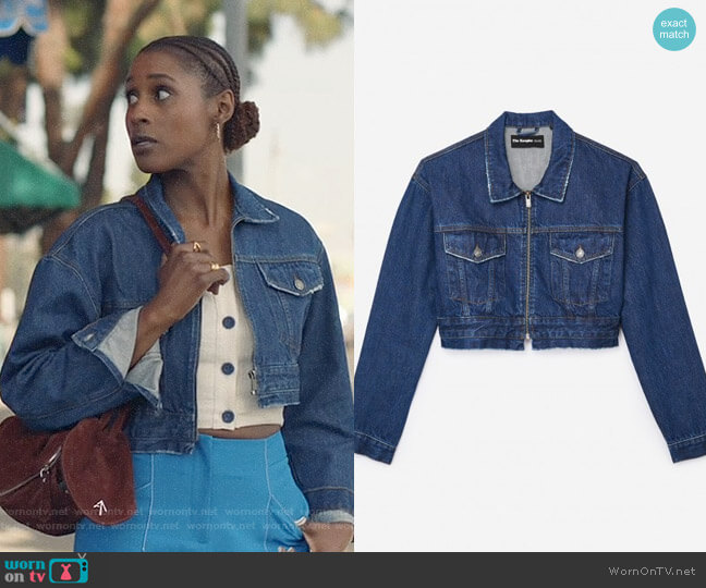 The Kooples Cropped Denim Jacket worn by Issa Rae on Insecure