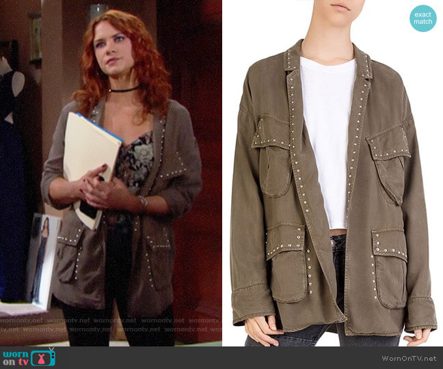 The Kooples Studded Cargo Jacket worn by Courtney Hope on The Bold & the Beautiful