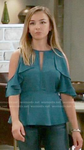 Kristina's blue cold shoulder top on General Hospital