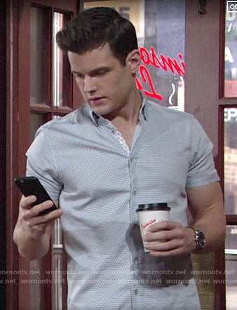 Kyle's blue diamond print shirt on The Young and the Restless