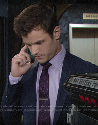 Kyle's pink and purple floral tie on The Young and the Restless