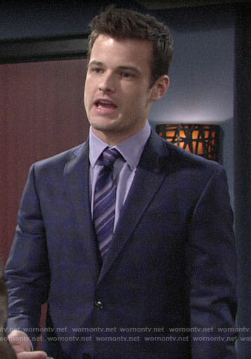Kyle's blue plaid suit and purple striped tie on The Young and the Restless