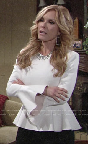 Lauren's white peplum top with bell sleeves on The Young and the Restless