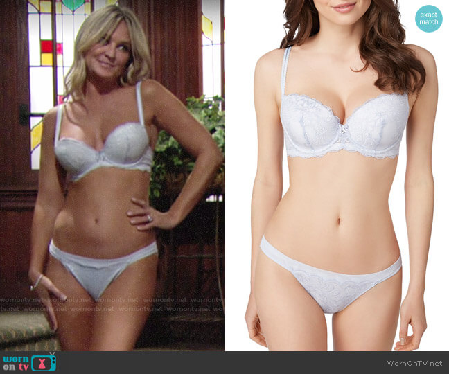 Le Mystere Sophia Lace Bra and Briefs worn by Sharon Collins (Sharon Case) on The Young & the Restless