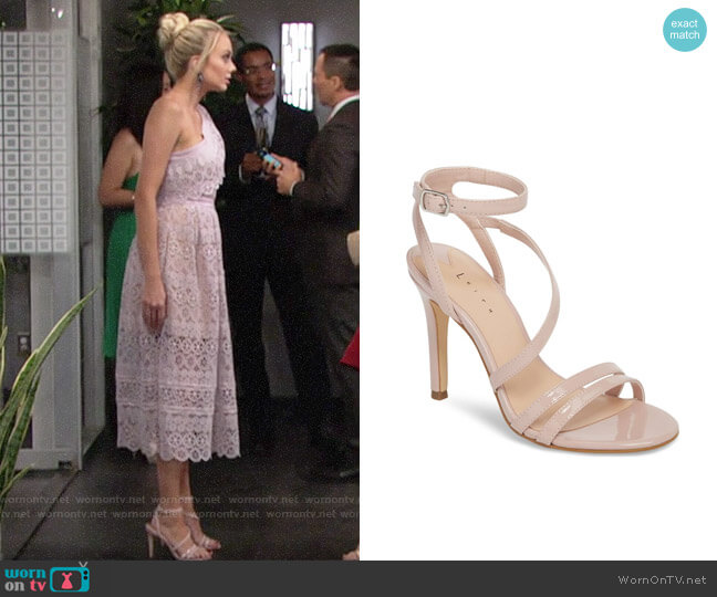 Leith Ava Asymmetrical Strappy Sandal worn by Melissa Ordway on The Young & the Restless