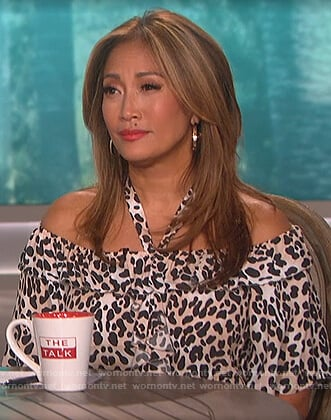 Carrie Inaba's leopard ruffle blouse on The Talk