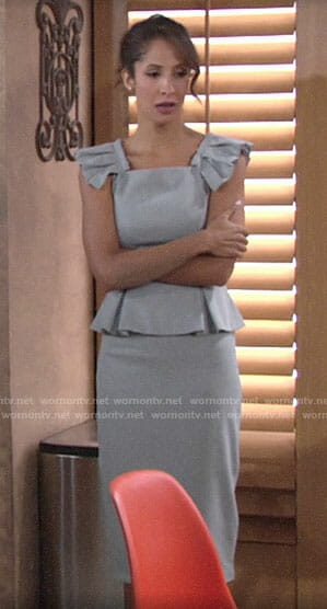 Lily's grey peplum dress with pleated shoulders on The Young and the Restless