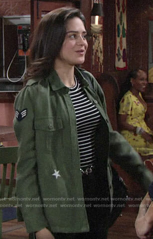 Lola's green jacket with patches and stars on The Young and the Restless