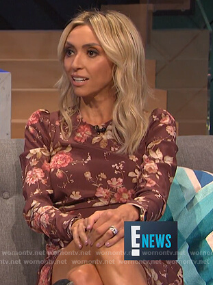 Guiliana's red puff shoulder floral dress on E! News