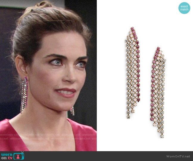 Loren Hope Marissa Earrings worn by Victoria Newman (Amelia Heinle) on The Young & the Restless