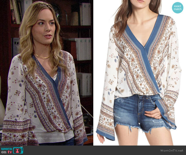 Lost + Wander Tulum Bell Sleeve Top worn by Hope Logan (Annika Noelle) on The Bold & the Beautiful