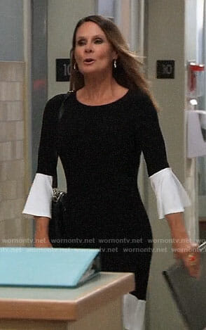 Lucy's black dress with white bell sleeves on General Hospital